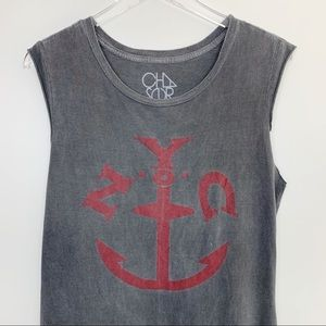 Chaser Tops - Chaser   NYC Anchor Graphic Muscle Tee Large